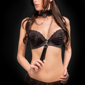 OUCH! REVERSIBLE COLLAR WITH LEASH BLACK