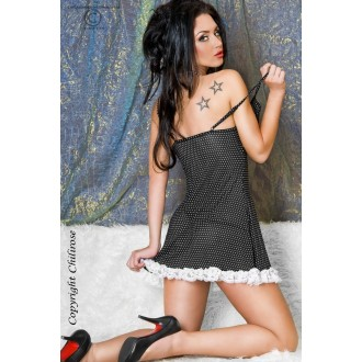 BABYDOLL AND STRING CR-3170 BLACK WITH WHITE POLKA DOTS