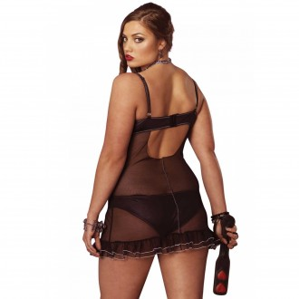 PLUS SIZE SHEER BABYDOLL WITH RUFFLES AND STRING
