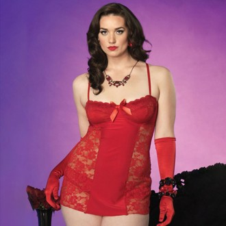 LACE BABYDOLL RED
