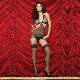 INDUSTRIAL NET MINI DRESS WITH OPENINGS