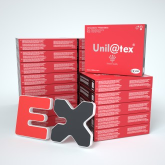 25 BOXES OF 144 RED STRAWBERRY CONDOMS UNILATEX